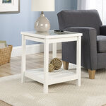 Open-Shelf Traditional Side Table in Soft White