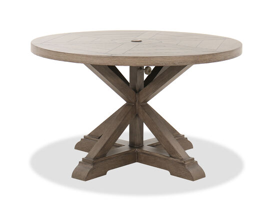 Traditional Round Patio Dining Table in Brown