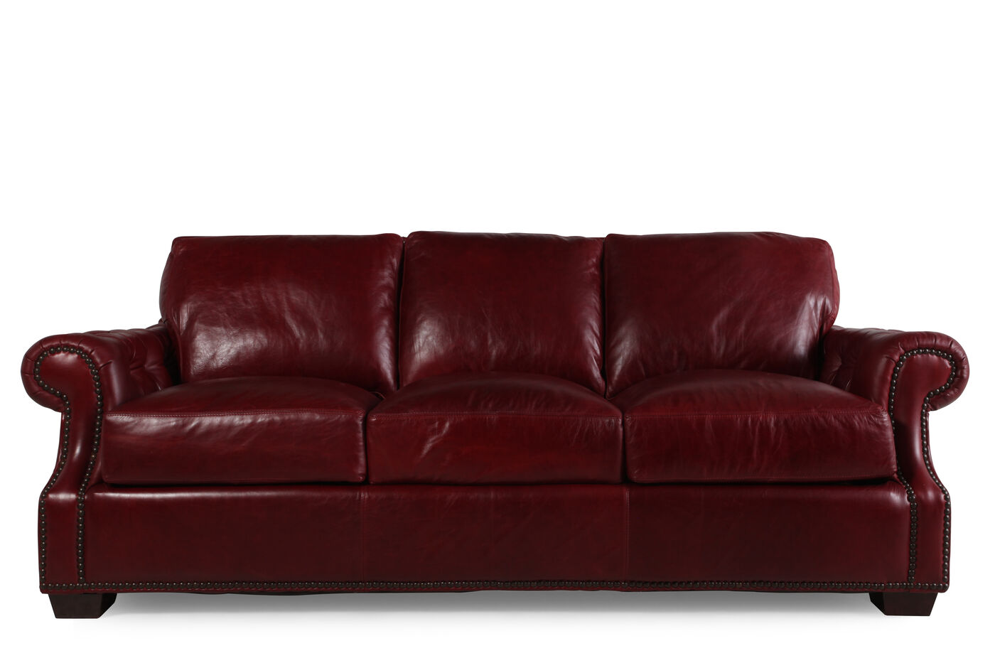 Traditional leather 93 sofa in marsala red mathis for Traditional leather sofas furniture