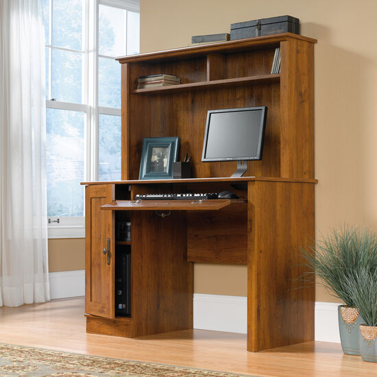 """43.5"""" Transitional Computer Desk with Hutch in Abbey Oak"""