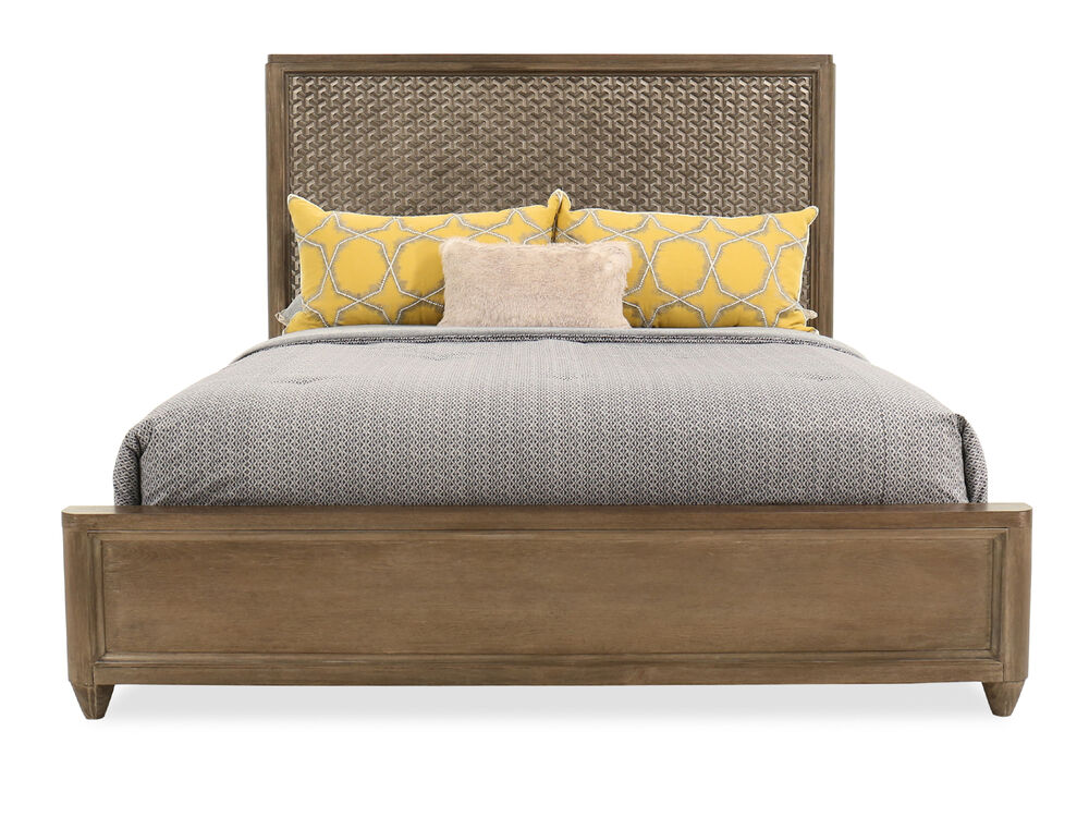 """66"""" Casual Textured King Panel Bed in Oak"""