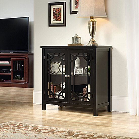 31.5'' Two-Glass Door Contemporary Display Cabinet in Black