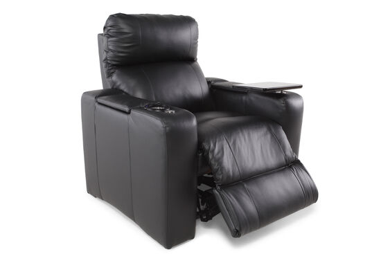 """44"""" Power Recliner with Swivel Table in Midnight Black"""