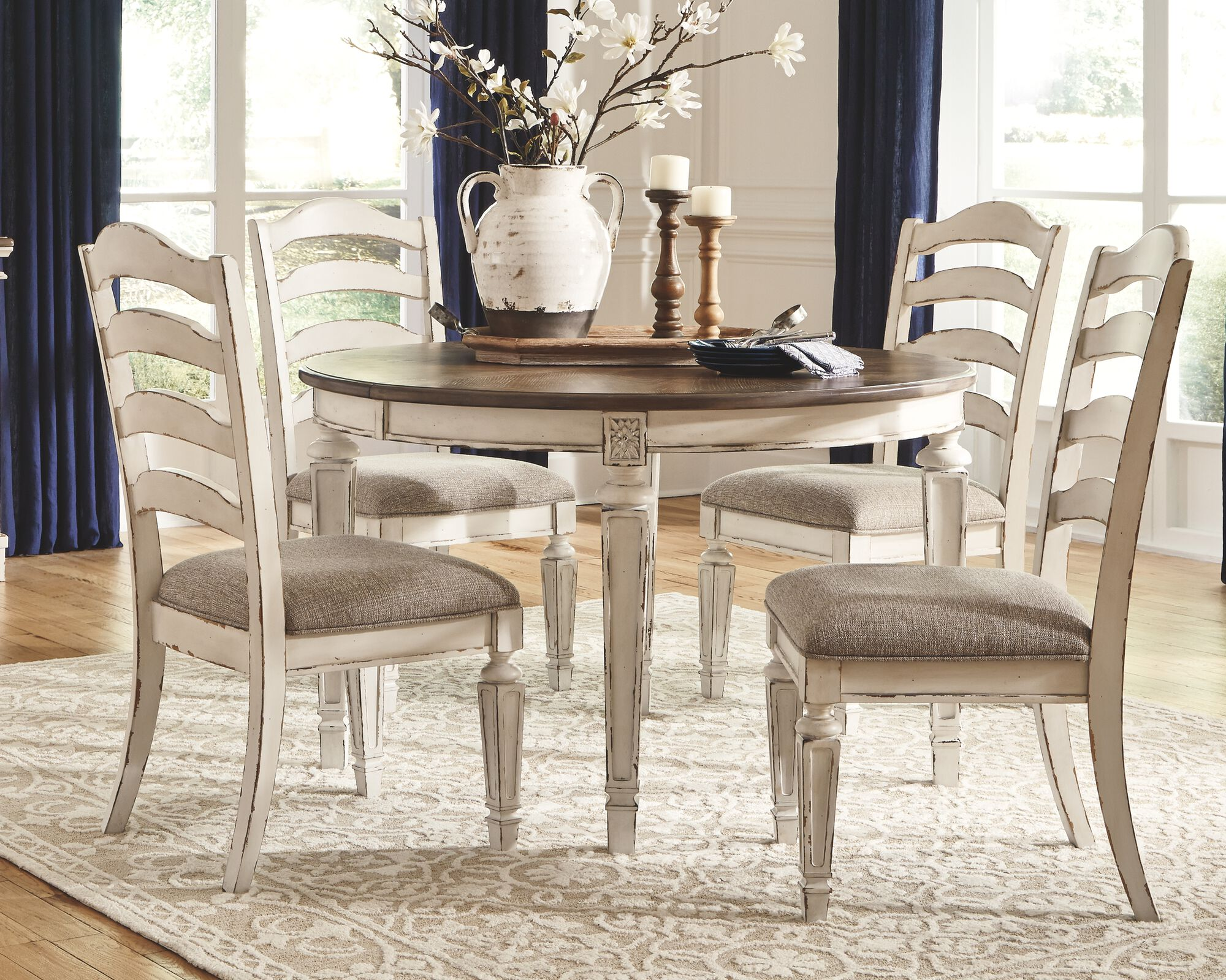 realyn chipped white 5 pc oval dining room extension