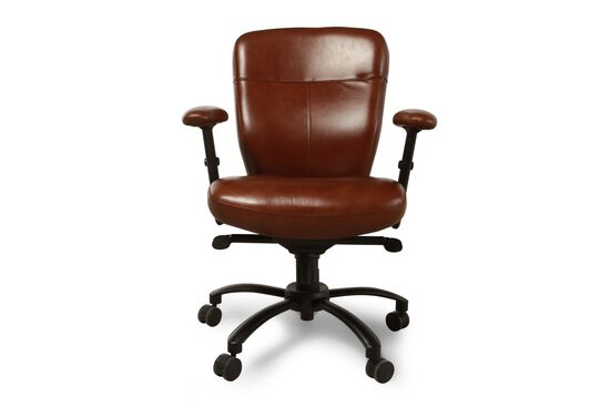 Leather Ergonomic Swivel Tilt Desk Chair in Brown