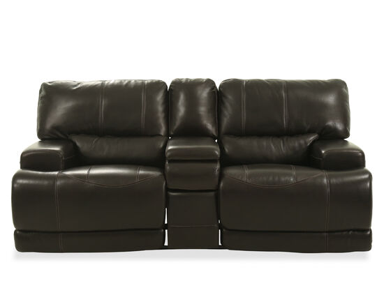 """Power Reclining Traditional Leather 80"""" Loveseat in Blackberry"""