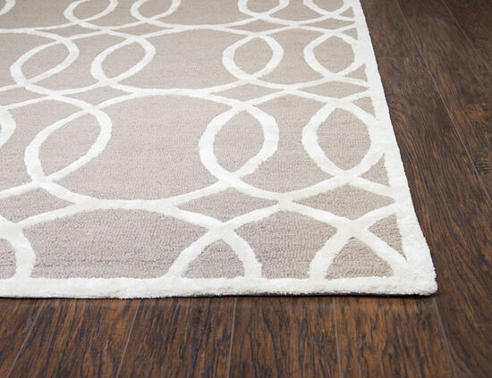 Geometric Hand-Tufted 9' x 12' Rectangle Rug in Light Gray