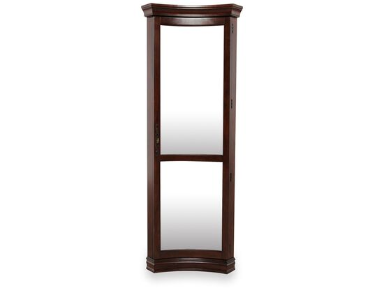 Glass-Shelved Traditional Concave Corner Curio in Rich Cherry