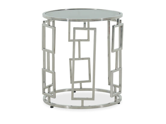 Glass-Top Modern End Table in Silver