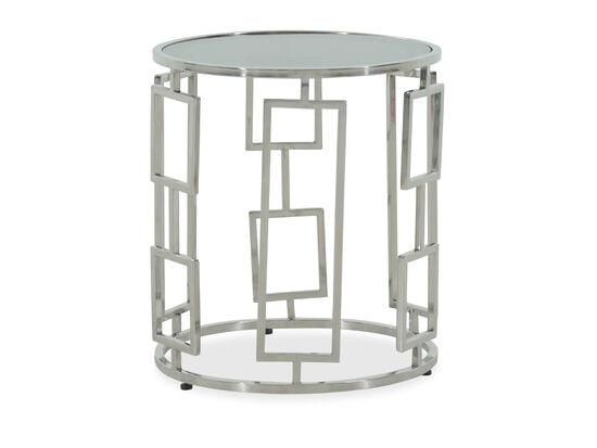 Glass-Top Modern End Tablein Silver