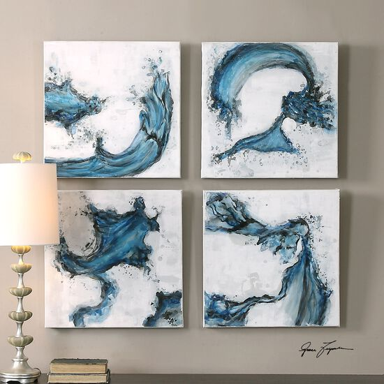 Four-Piece Abstract Swirls Canvas Wall Art Set in Blue