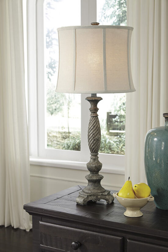 Traditional Softback Shade Table Lamp in Distressed Gray