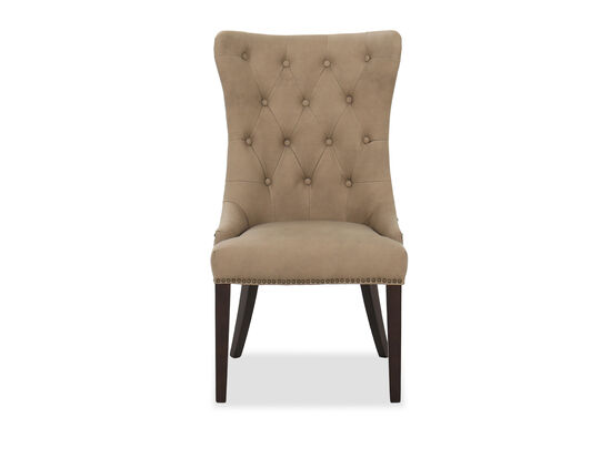Button Tufted Leather Dining Chair in Brown
