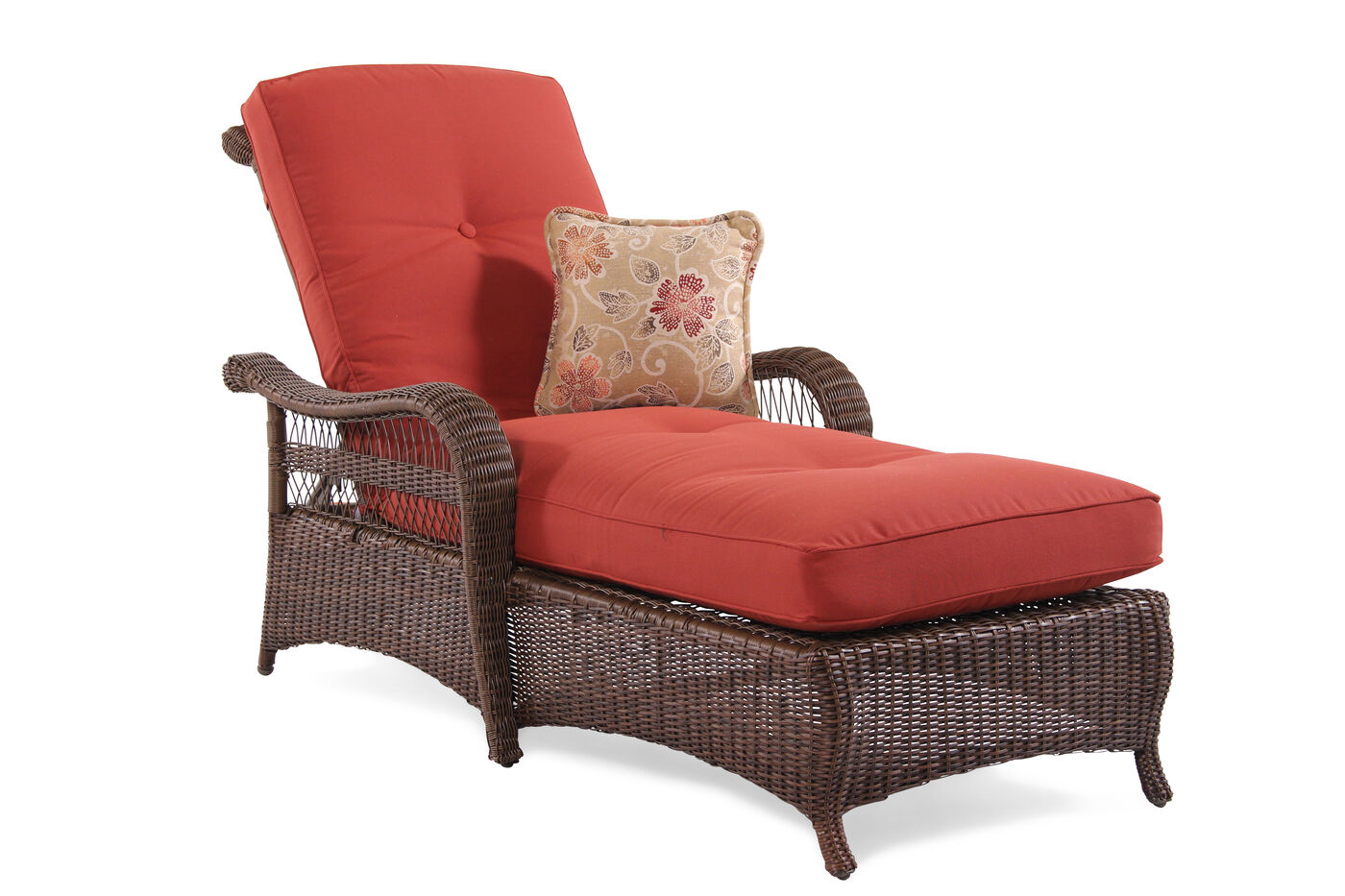 Button tufted aluminum wicker chaise in red mathis for Button tufted chaise settee green