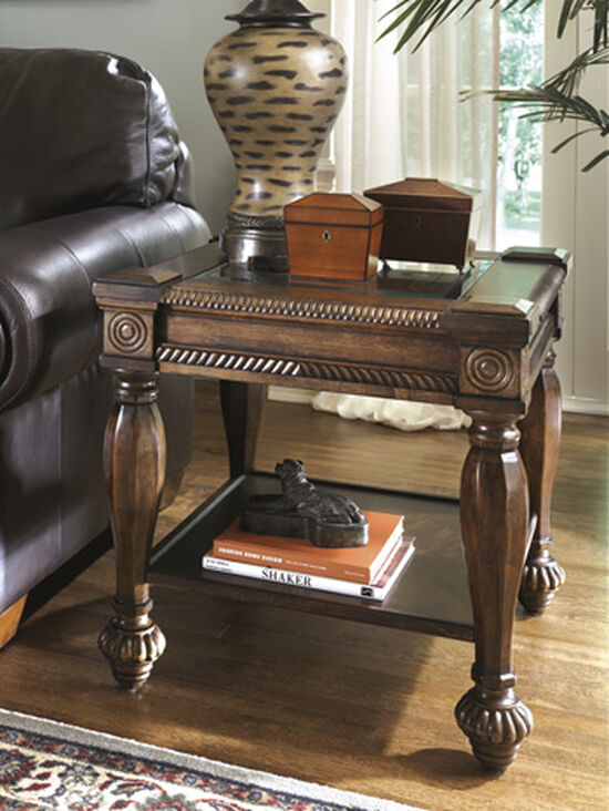 Glass-Inset Traditional Square End Table in Brown