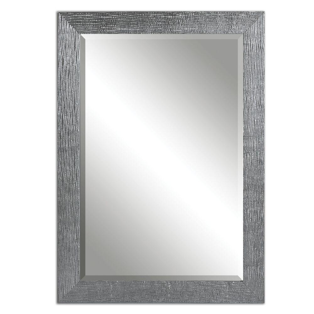 "42"" Textured Framed Mirrorin Silver"