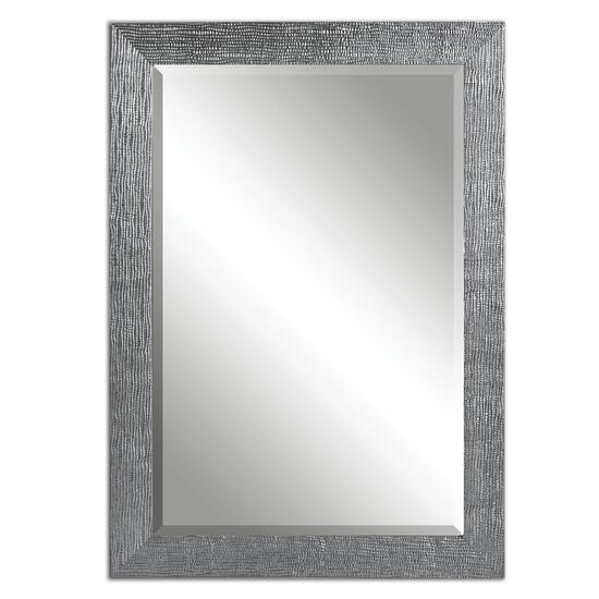 "42"" Textured Framed Mirror in Silver"