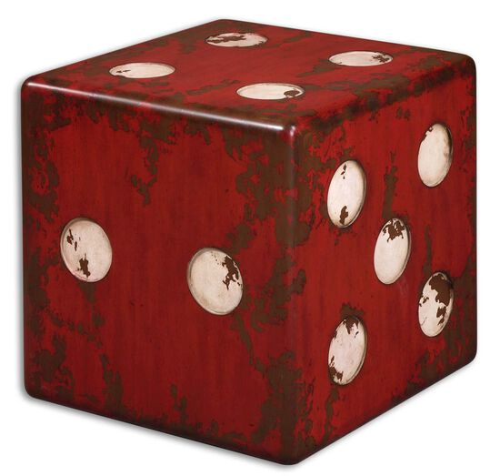 Dice Accent Table in Burnt Red