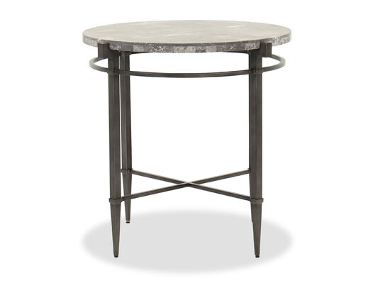 Casual Round End Table in Dark Gray