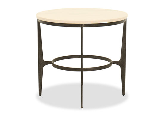 Round Steel End Table in Black
