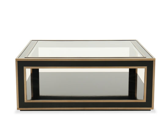 Transitional Glass-Top Cocktail Table in Black