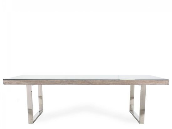 "Modern 40"" Glass Dining Table in Light Brown"