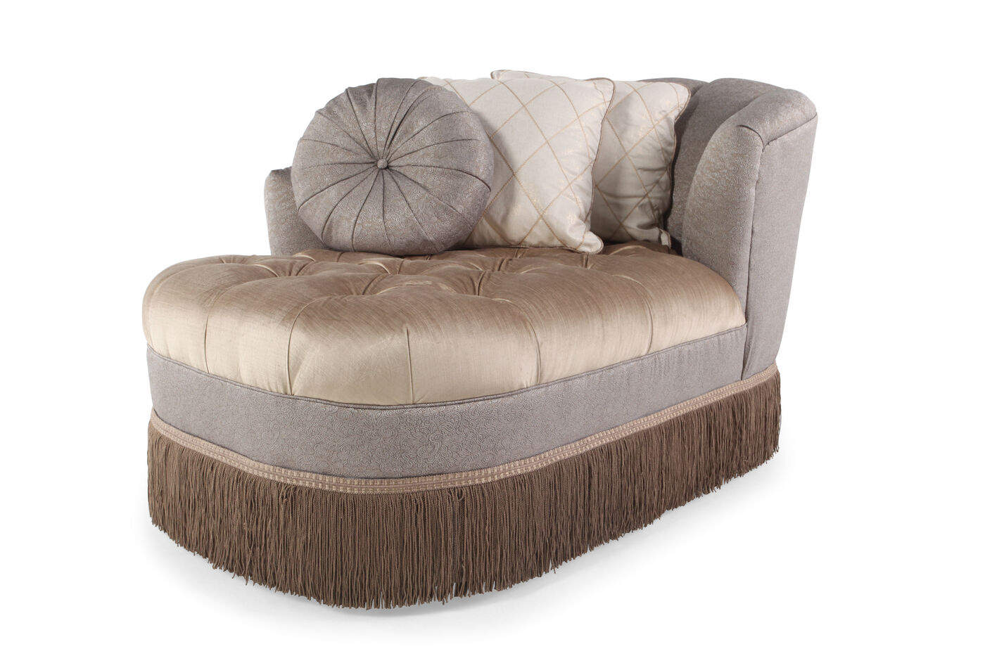Fringed Skirt Traditional Tufted Chaise Nbsp In Champagne