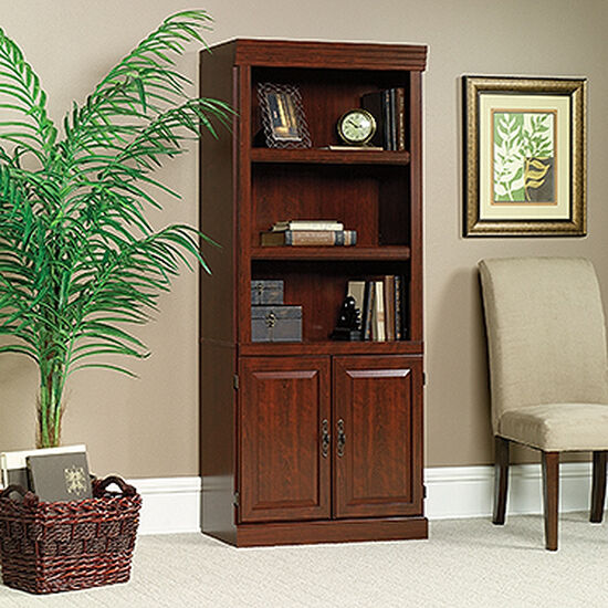 Two-Door Transitional Library in Classic Cherry