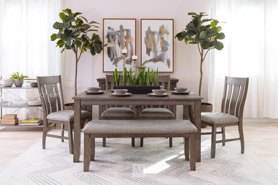 Six-Piece Traditional Dining Set in Dark Gray