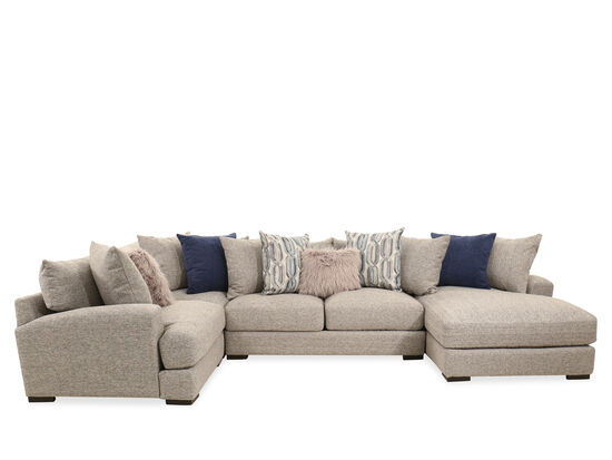 Four-Piece Contemporary Sectional in Brown
