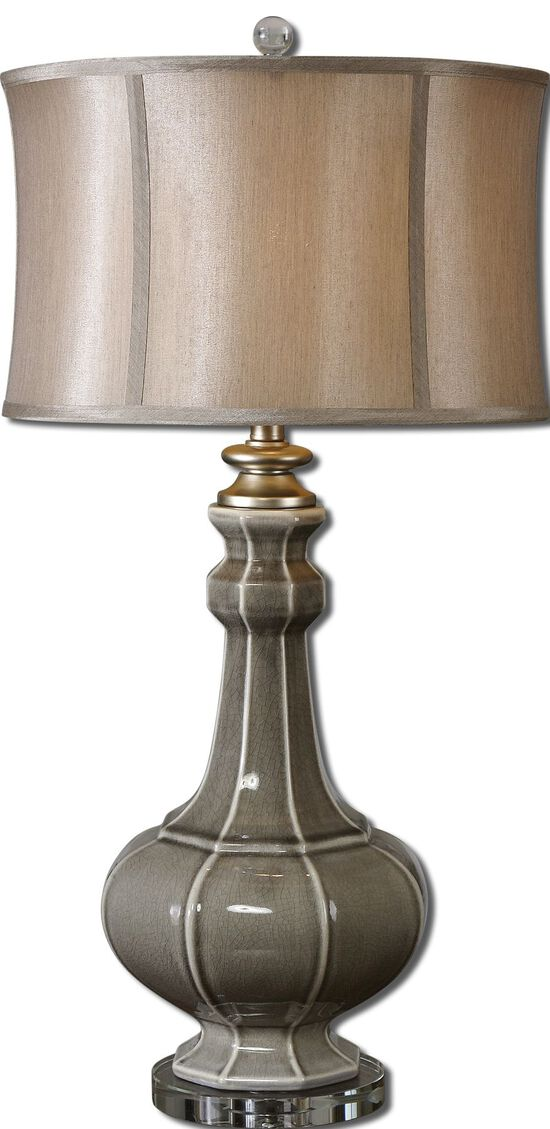 Crystal Foot Table Lamp in Crackled Gray