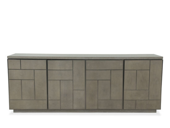 Grille Overlay Doors Casual Entertainment Console in Dark Taupe