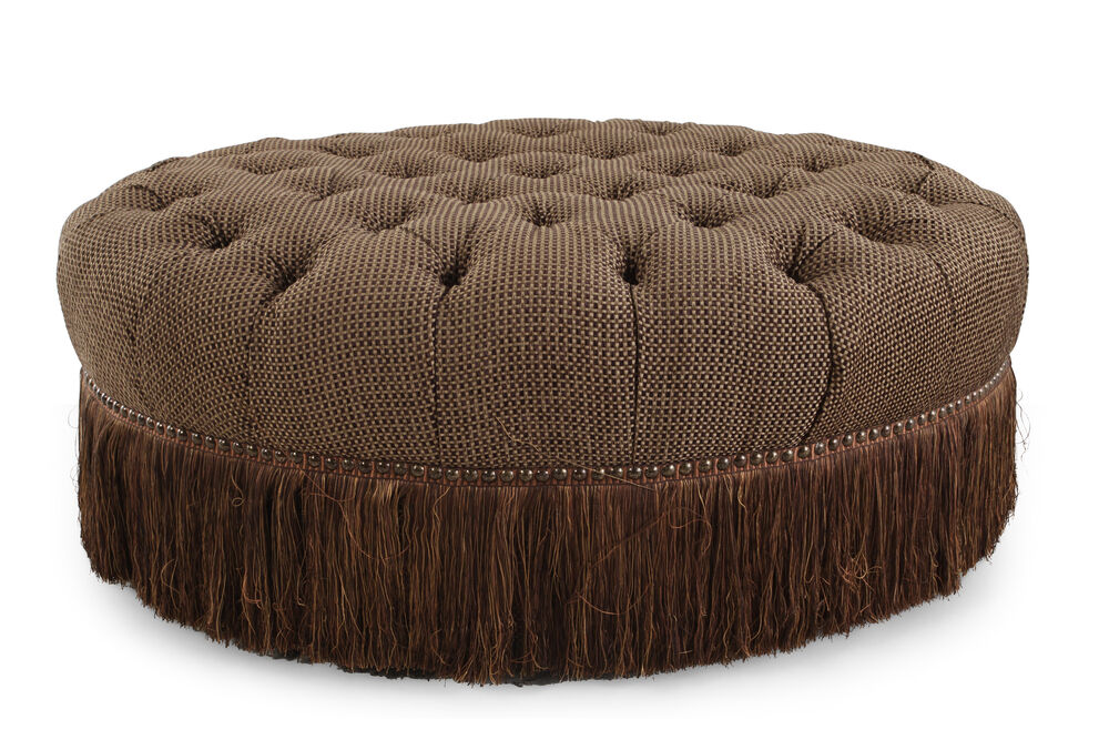 """Tufted Traditional 50"""" Cocktail Ottoman in Brown"""