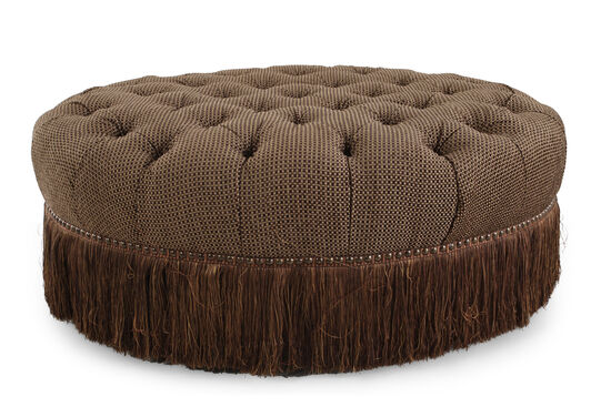 "Tufted Traditional 50"" Cocktail Ottoman in Brown"