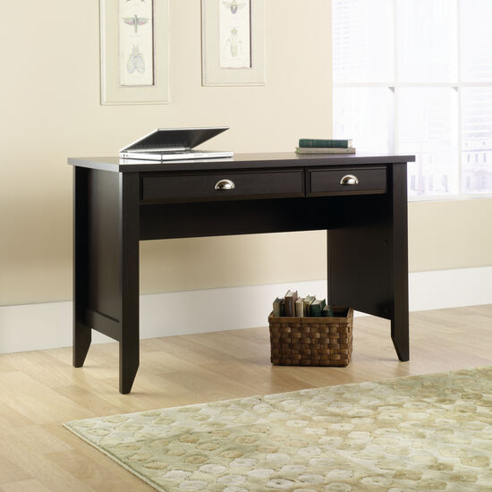 "47"" Transitional Two-Drawer Desk in Jamocha Wood"