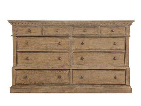 """40"""" Traditional Eight-Drawer Carved Dresser in Aged Oak"""