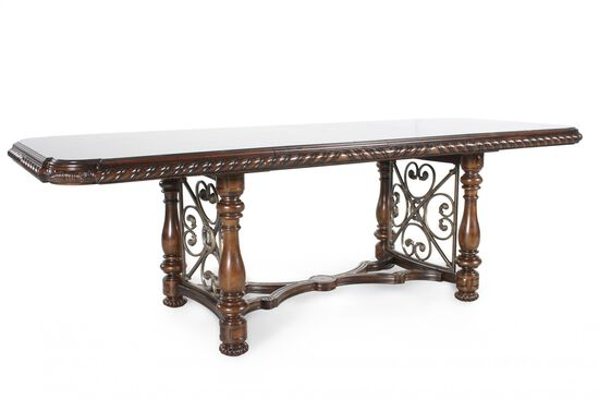 "Traditional 130"" Rectangular Dining Table in Port"