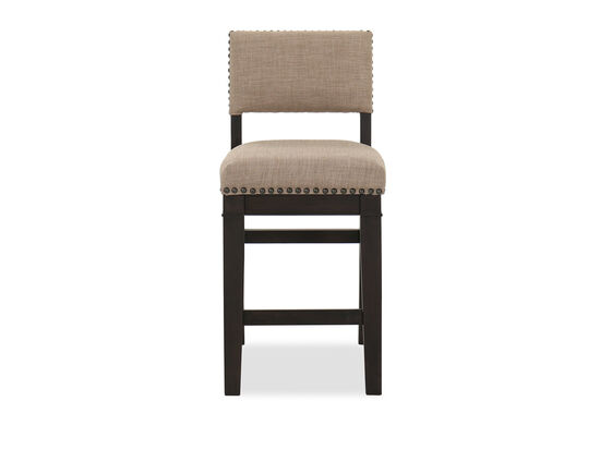 Casual Nailhead-Accented Counter Stool in Brown