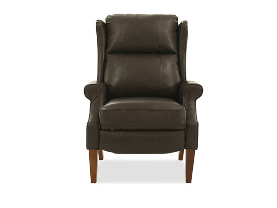 "Wingback 30.5"" Leather High-Leg Recliner in Brown"