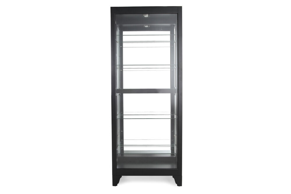 Glass Shelf Contemporary Curio with Halogen Lights in Deep Black Onyx