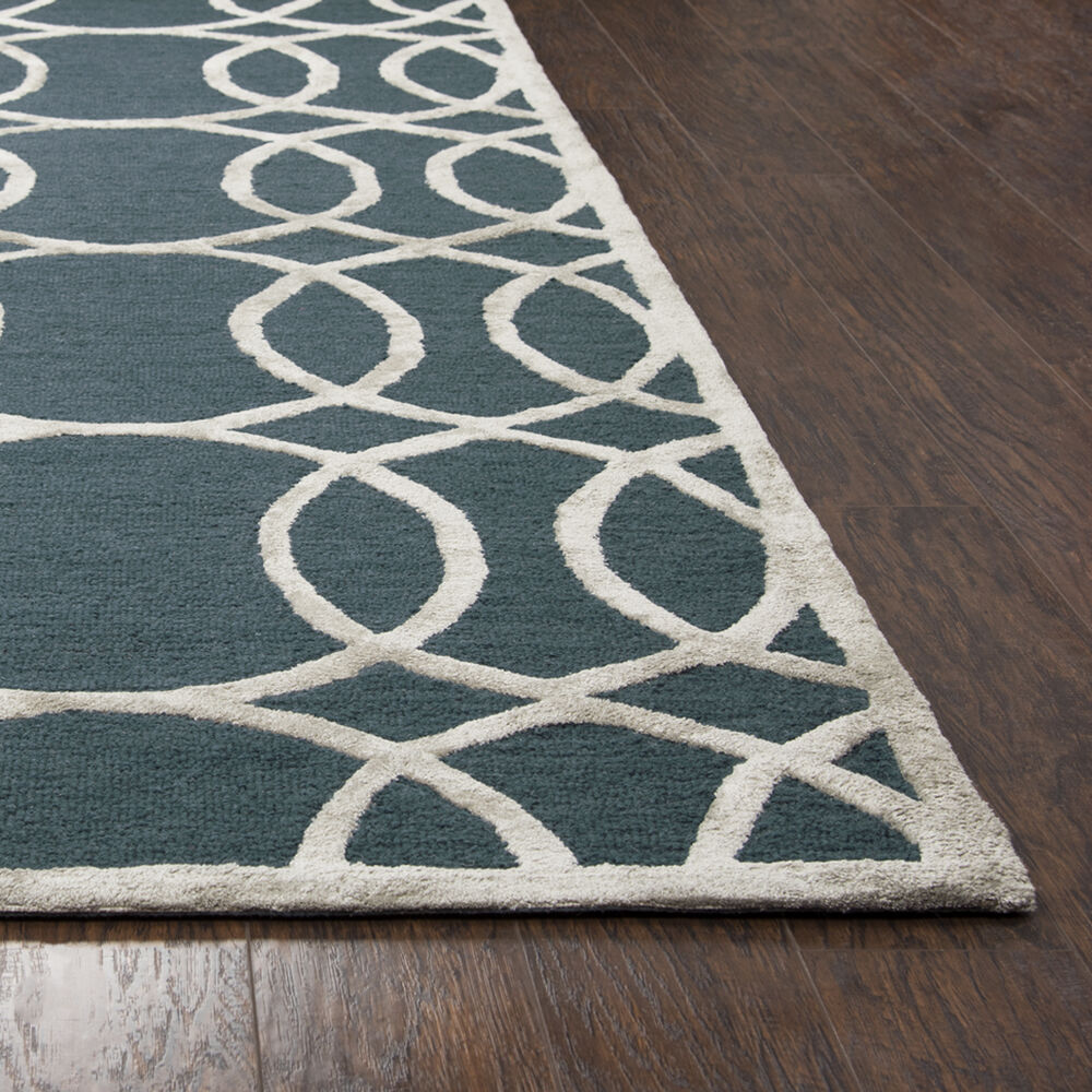 Geometric Hand-Tufted 3' X 5' Rectangle Rug In Dk. Teal