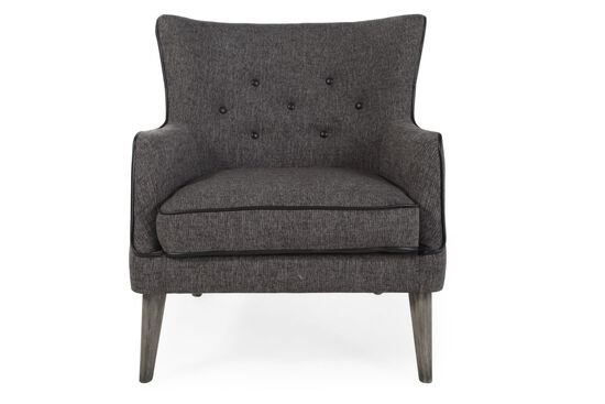 "Button-Tufted Mid-Century Modern 30"" Accent Chair in Charcoal"