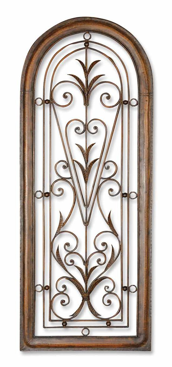 Arch-Framed Scrollwork Wall Art in Brown