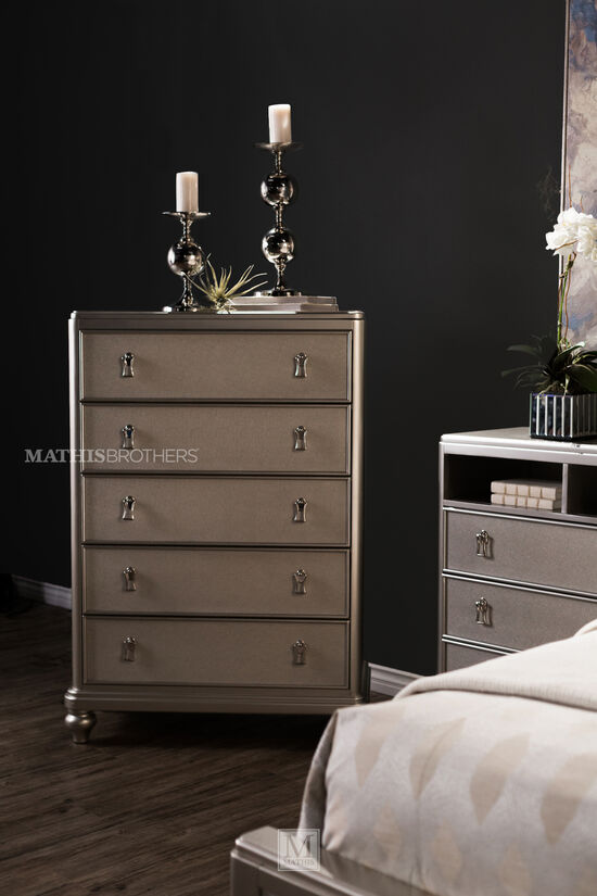 """56"""" Lift-TopTransitional Drawer Chest in Platinum"""