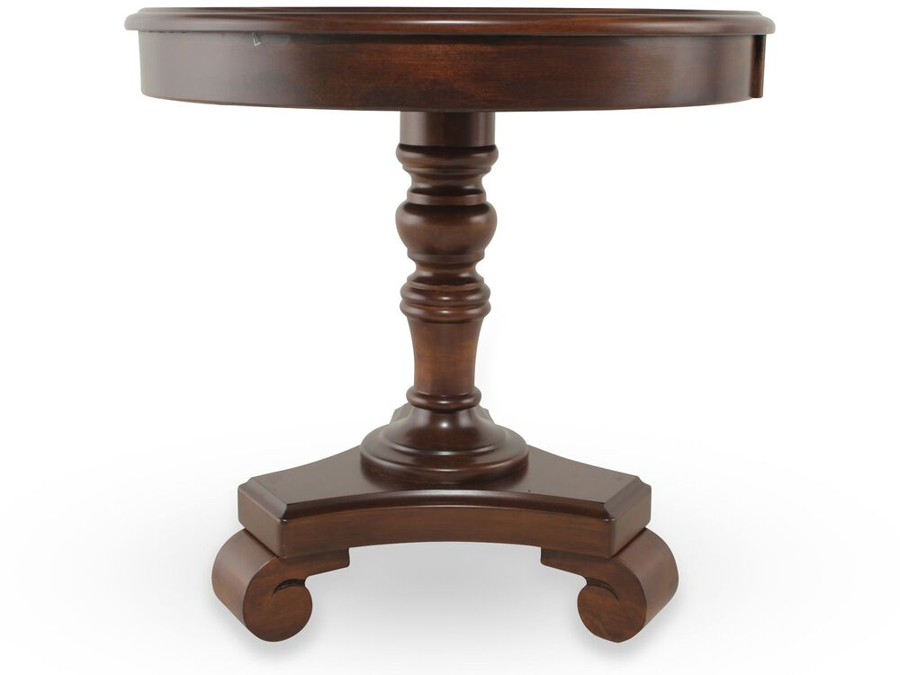 Round Traditional End Table in Rustic Brown