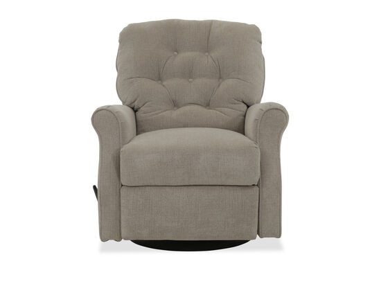 "Button Tufted Casual 36"" Swivel Glider Recliner in Beige"