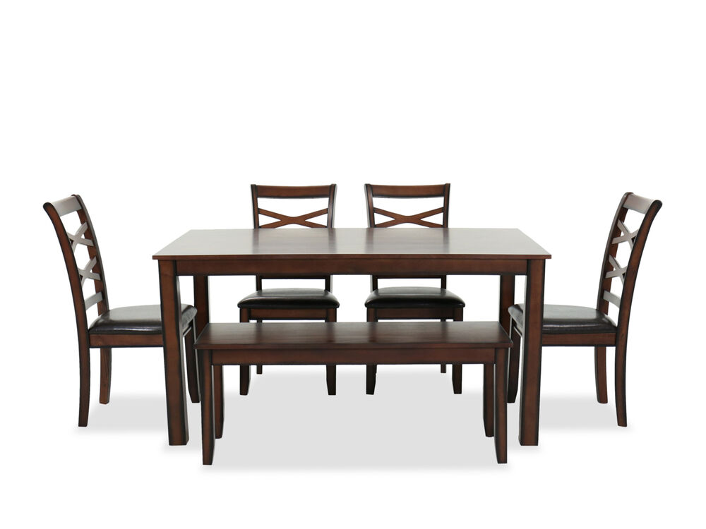Six Piece Wood Top Dining Table Set In Dark Brown Mathis Brothers Furniture