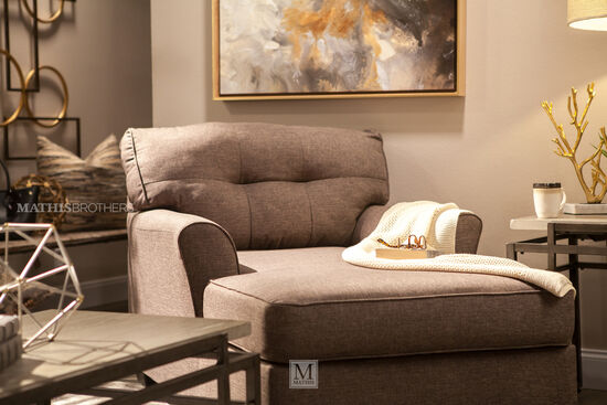 Button-Tufted Contemporary Chaise in Slate