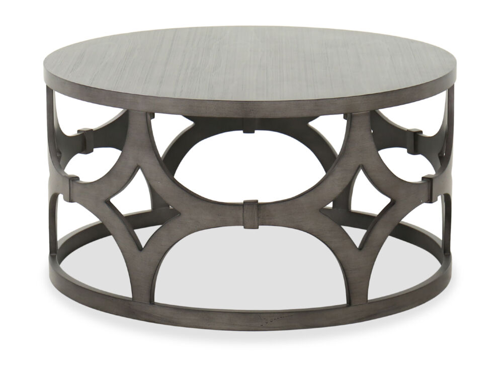 Transitional Round 36 Cocktail Table In Gray Mathis Brothers