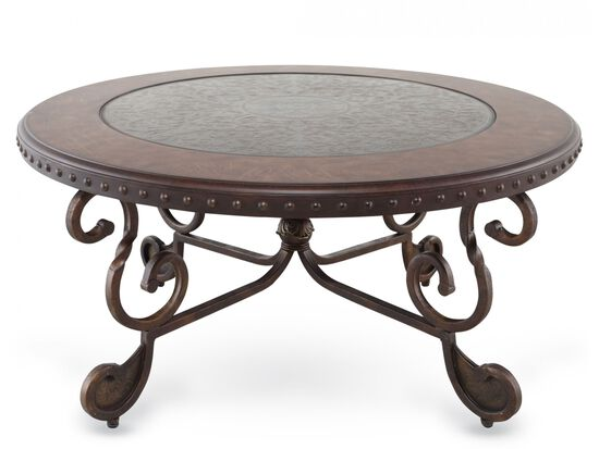 Scroll Base Traditional Cocktail Table in Brown